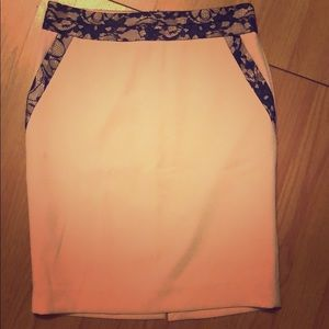 The Limited Pink w/Black Lace Work Skirt - 4